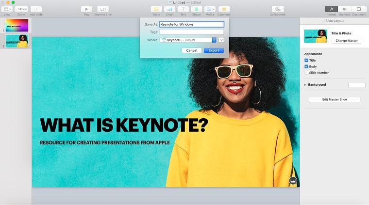 Keynote Saving a presentation.