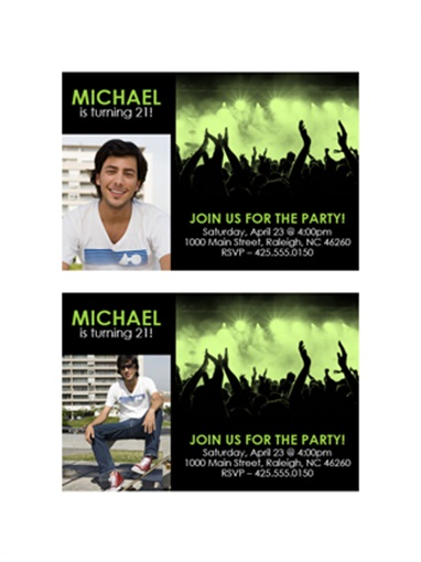 Party invitation (green on black)