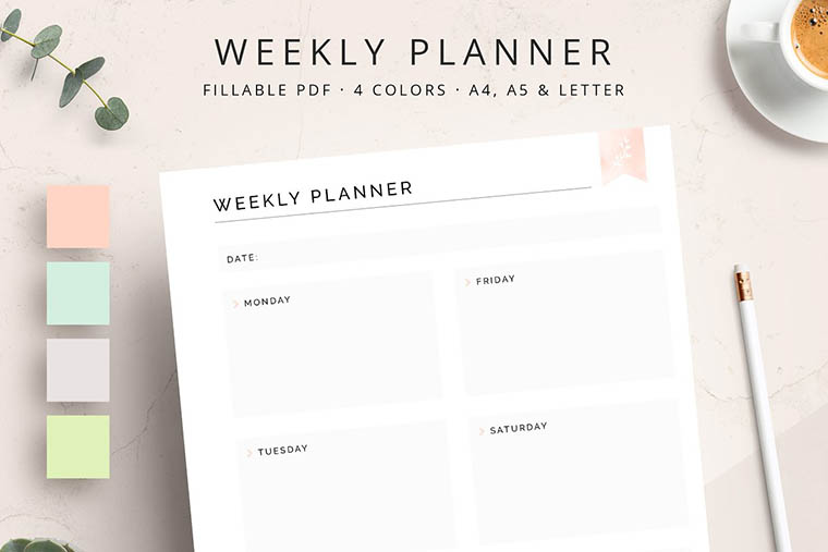 FILLABLE Weekly Planner Printable