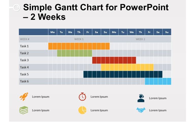 2 Weeks Simple Gantt Chart for PowerPoint