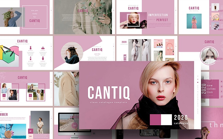 Cantiq Modern Catalogue PowerPoint Template to Present a Fashion Collection