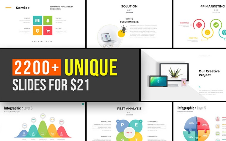 Entire Pack Presentation PowerPoint Template with Unique Slides