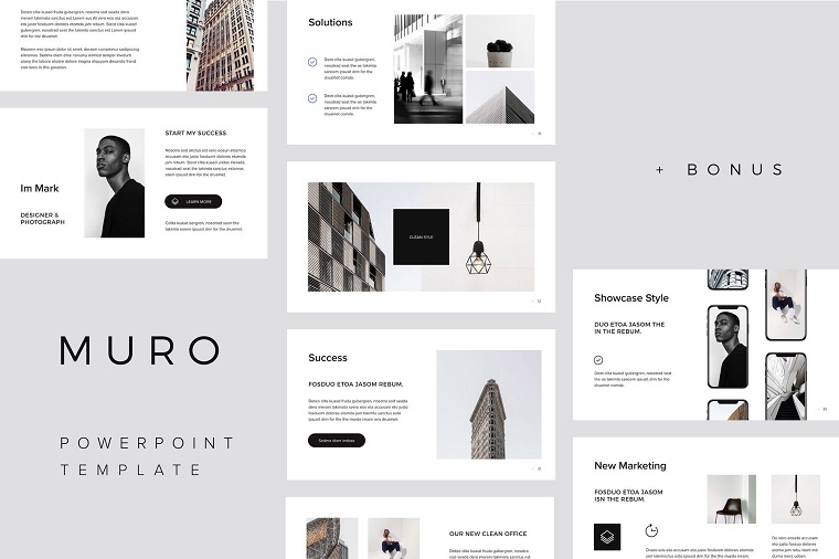 MURO PowerPoint Template for Black and White Lovers