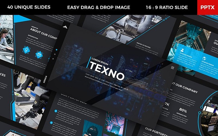 Texno PowerPoint Template to Show the Great Projects