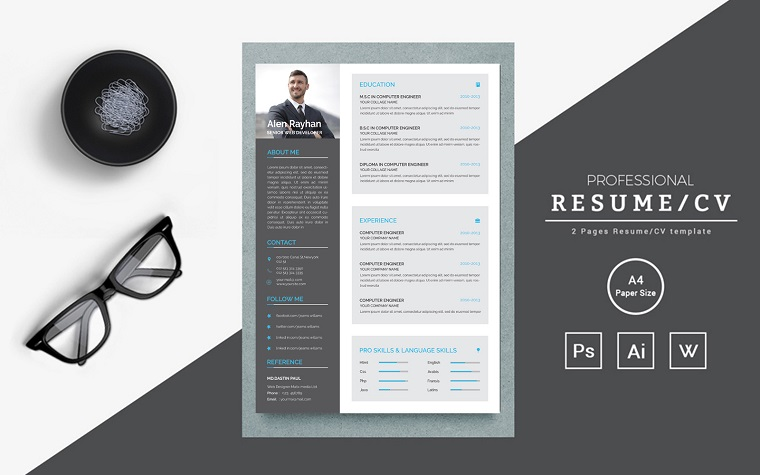 Clean and creative for web developer Resume Template
