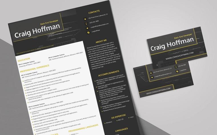 Craig Hoffman - Backend Developer Resume Template