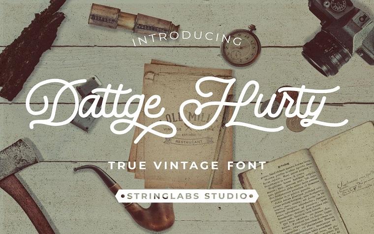 Dattge Hurty - Monoline Retro Script Font