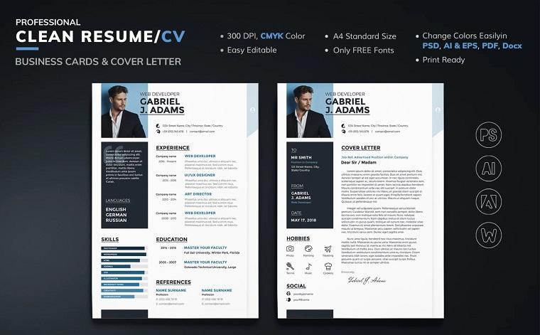 Gabriel J Adams - Web Developer Resume Template