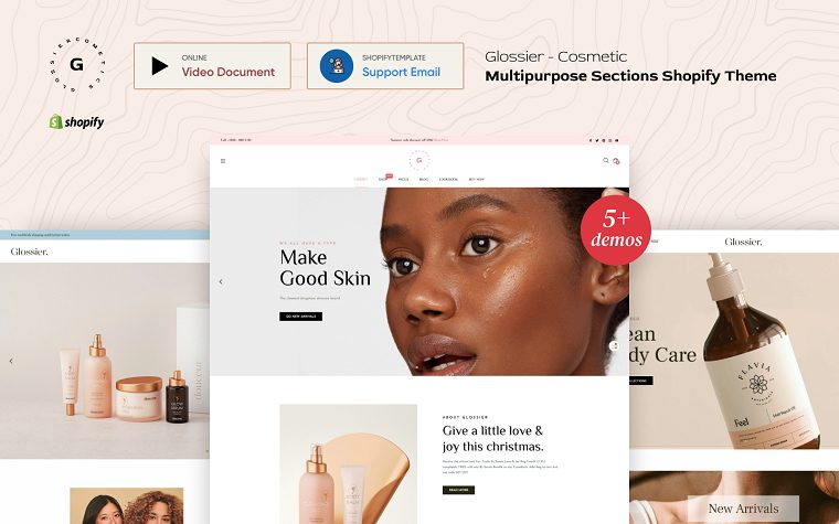 Glossier - Multipurpose Sections Shopify Theme.