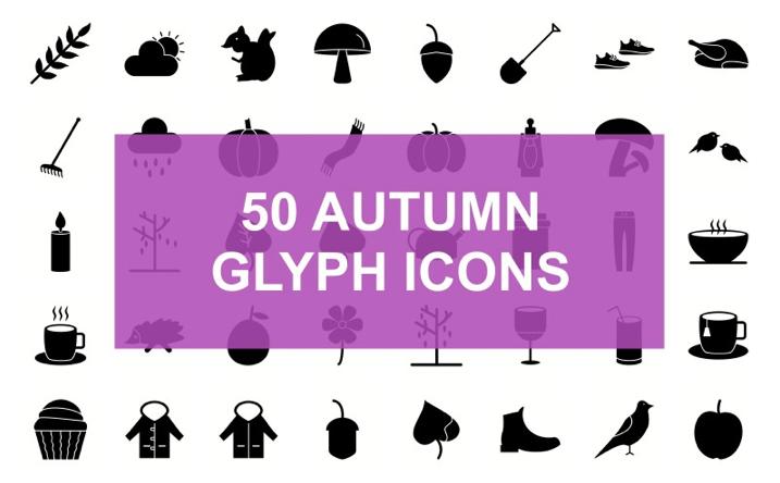 Autumn Glyph Black Set Iconset Template