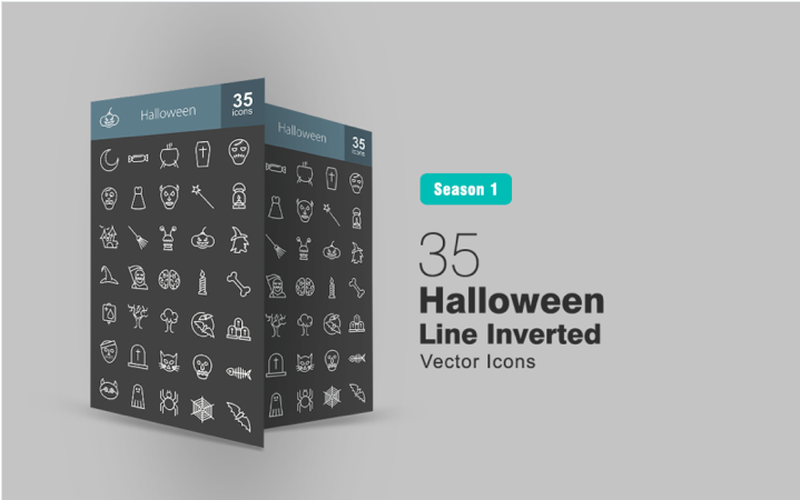 35 Halloween Line Inverted Iconset Template