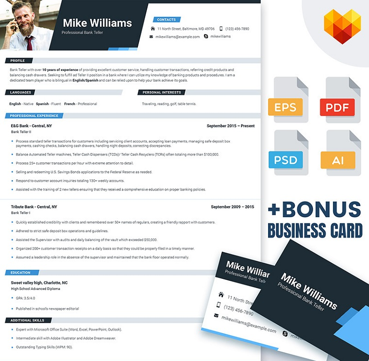 Mike Williams - Resume Template for Bank Teller