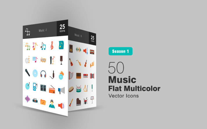 50 Music Flat Multicolor Iconset Template