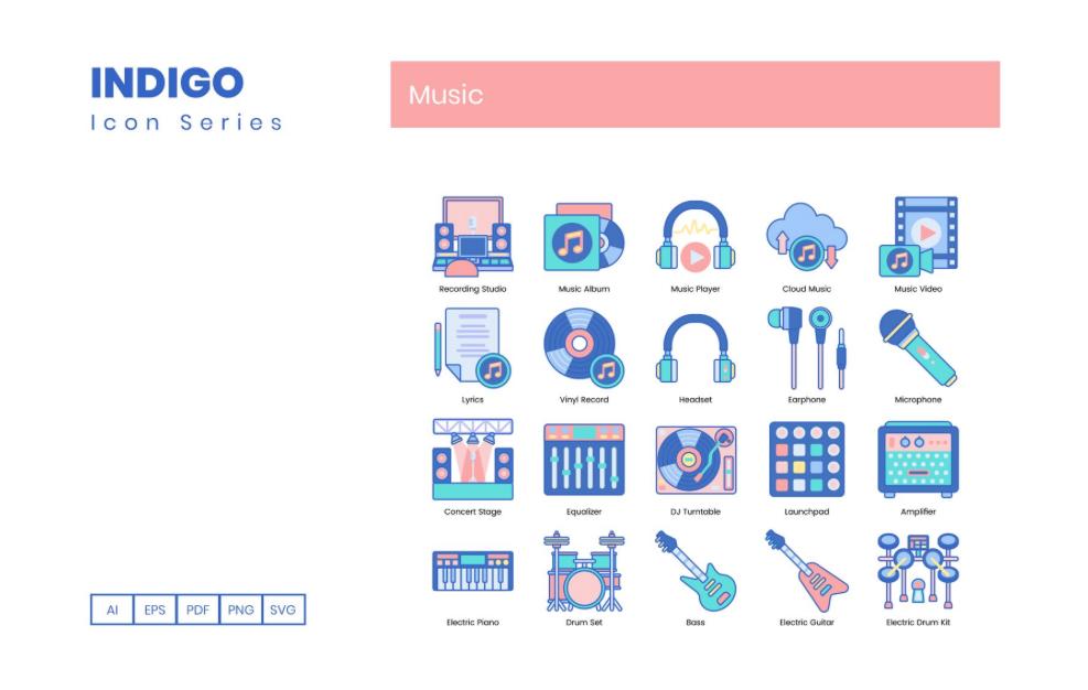 100 Music Icons - Indigo Series Iconset Template
