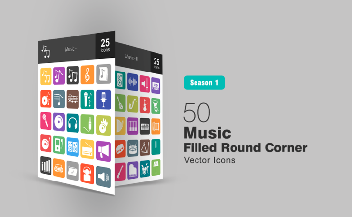 50 Music Filled Round Corner Iconset Template