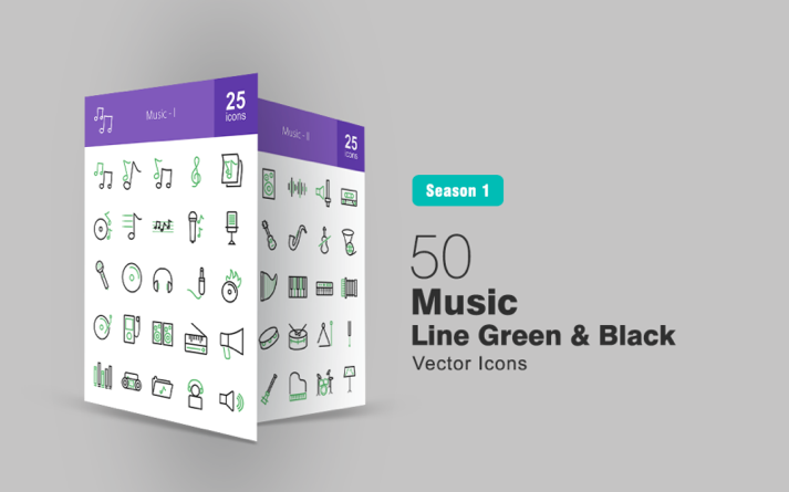 50 Music Line Green & Black Iconset Template
