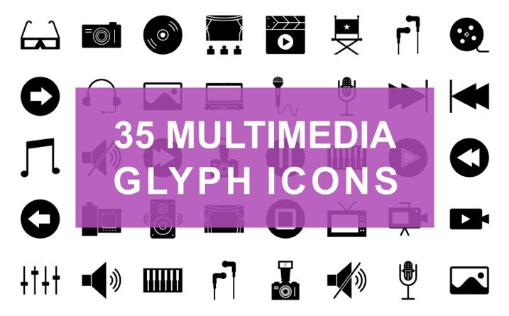 Multimedia Glyph Black Set Iconset Template