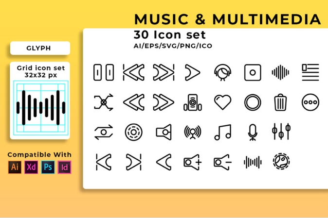 Music Player Set Iconset Template