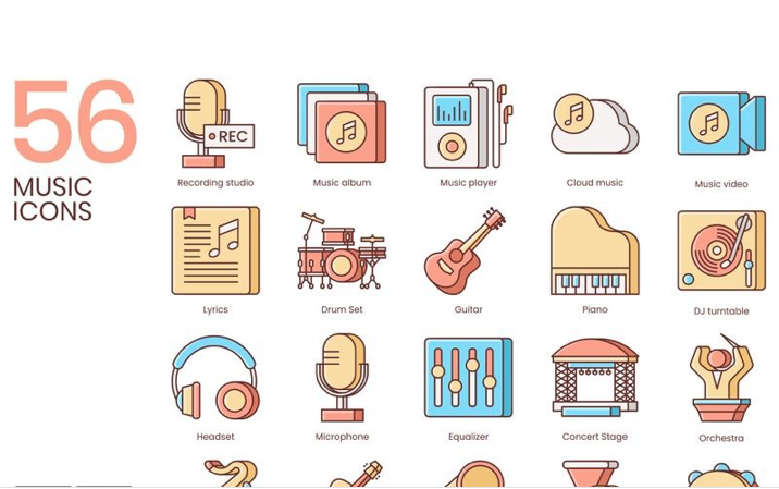56 Music Icons - Honey Series Iconset Template