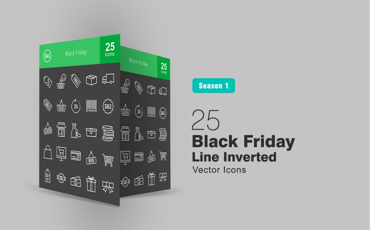 25 Black Friday Line Inverted Iconset Template