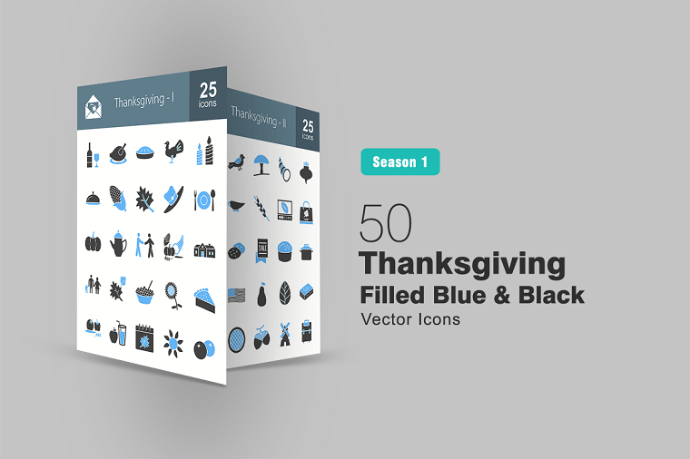 50 Thanksgiving Filled Blue & Black Iconset Template