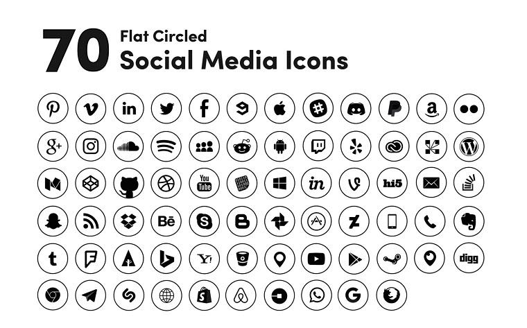 Black Circled Social Media Iconset Template