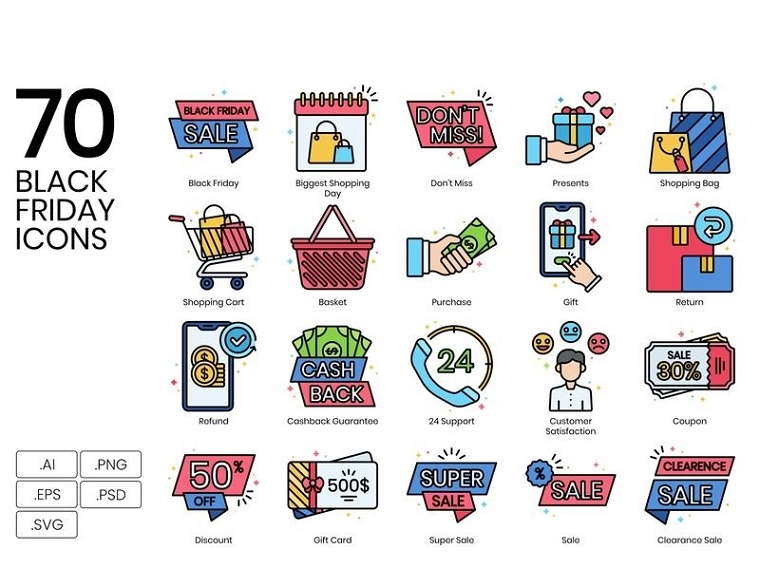 70 Black Friday Icons - Vivid Series Iconset Template