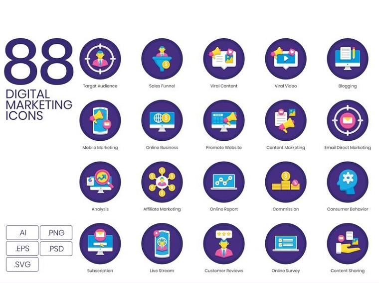 88 Digital Marketing Icons - Orchid Series Iconset Template