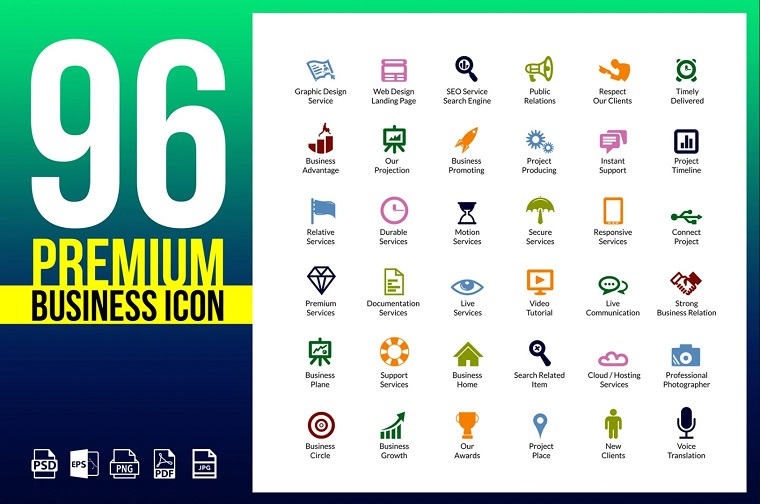 Business Icons Pack | Vector Icon Design Iconset Template