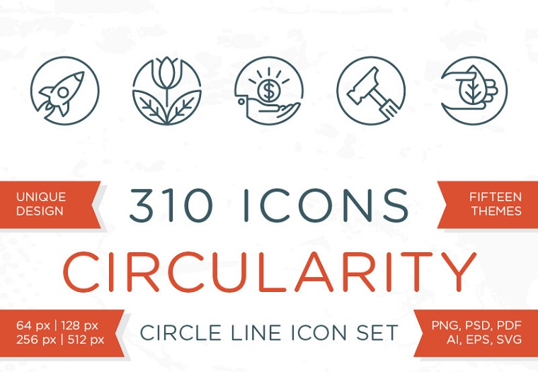 Circularity - Circle Line Icons Iconset Template