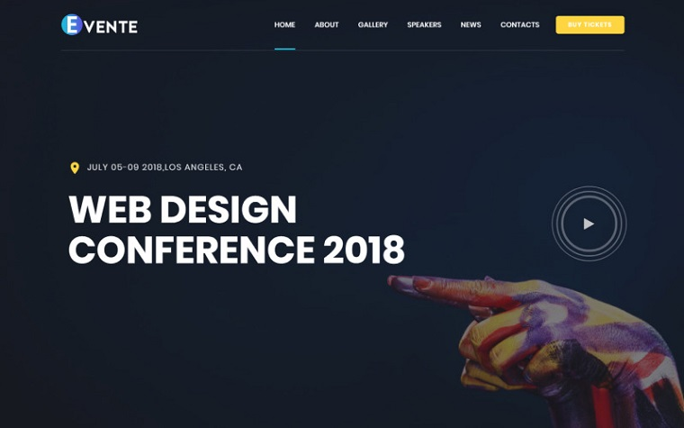 Evente - Web Design Conference Landing Page Template