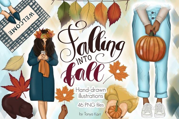 Falling Into Fall Clipart & Patterns Illustration