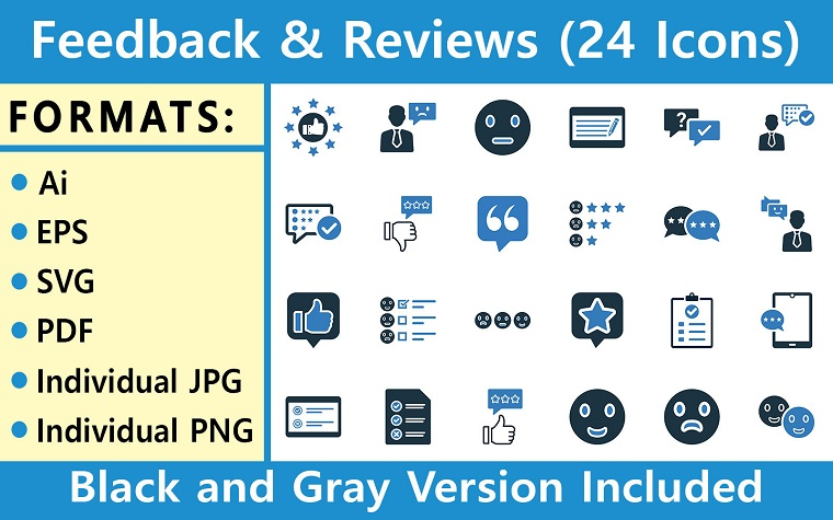 Feedback & Reviews Pack | Multipurpose Iconset Template