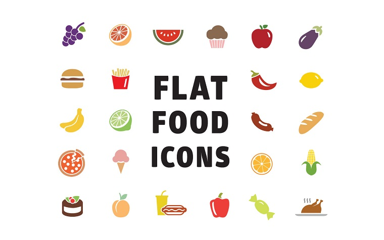 Flat Food Icons Iconset Template