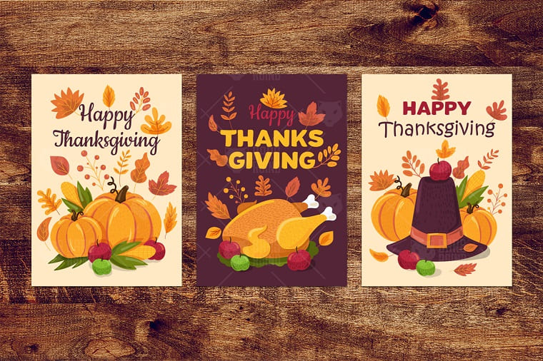 Happy Thanksgiving Day Banners Set Illustration