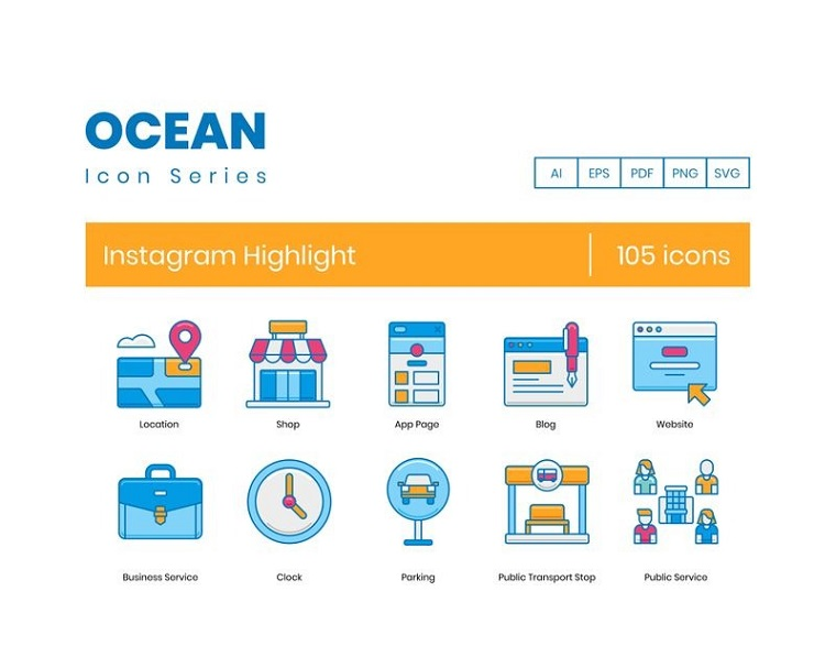 105 Instagram Highlight Icons - Ocean Series Iconset Template