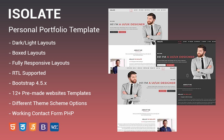 Isolate - Personal Portfolio Landing Page Template
