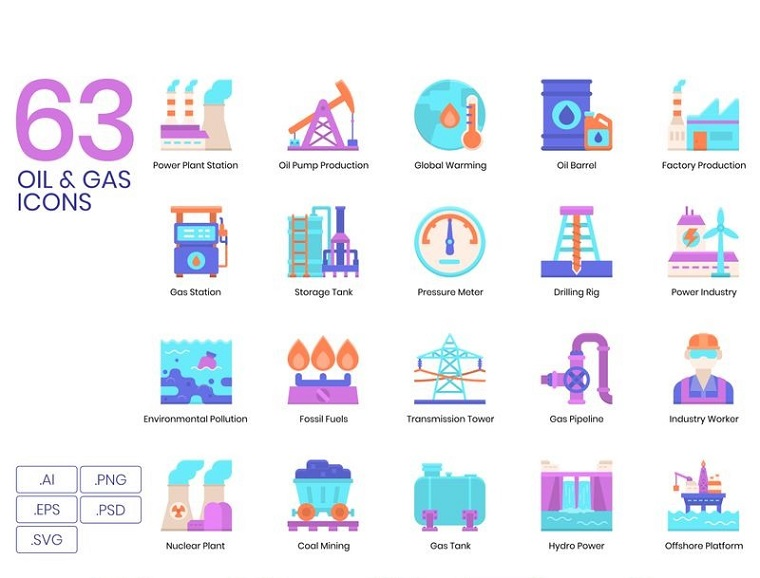 63 Oil Gas Icons - Violet Series Iconset Template
