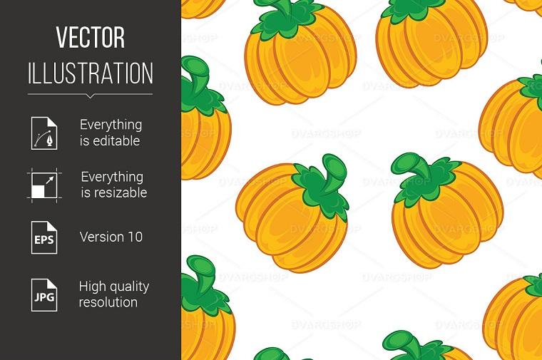 Seamless Texture of an Orange Pumpkin Vector