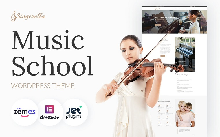 Singerella - Music School WordPress Theme.
