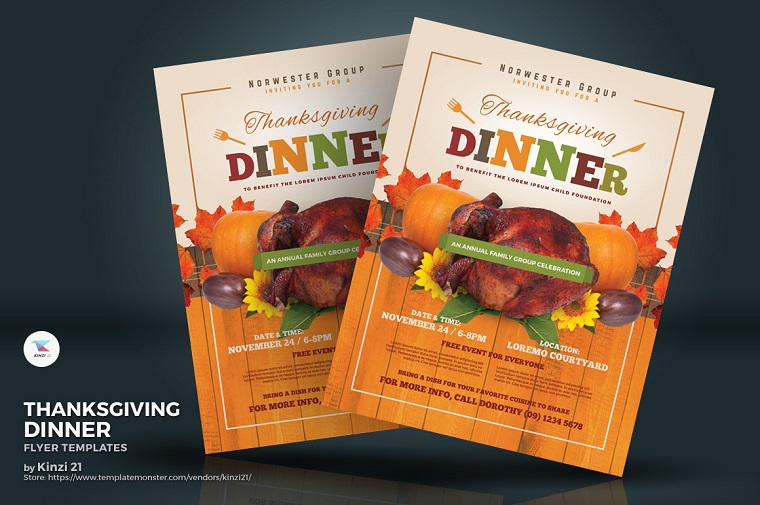 Thanksgiving Dinner Flyer Corporate Identity Template