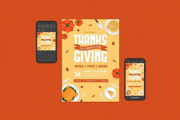 Thanksgiving Flyer Set Corporate Identity Template