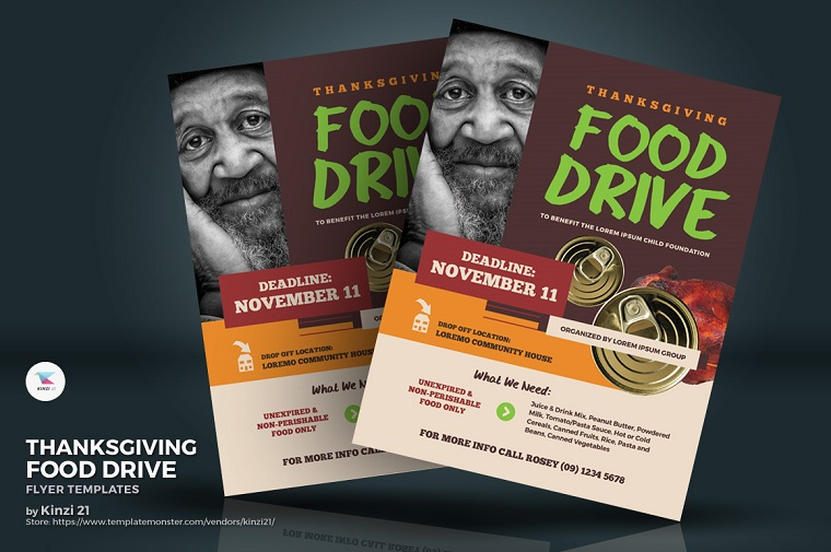 Thanksgiving Food Drive Flyer Corporate Identity Template