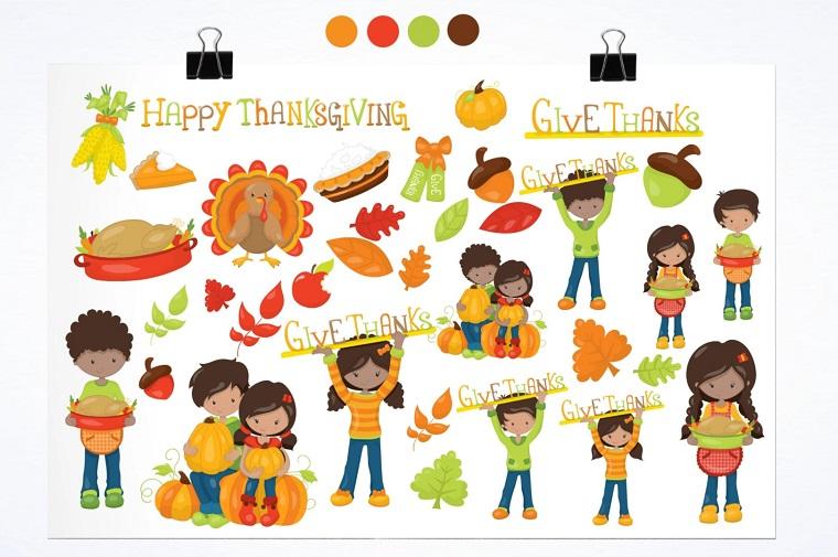 Thanksgiving day scenario illustration pack Vector.