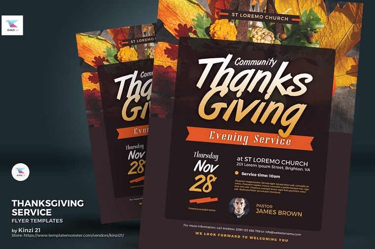 Thanksgiving Service Flyer Corporate Identity Template