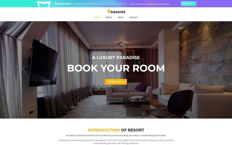Elegant Hotel Booking WordPress Theme