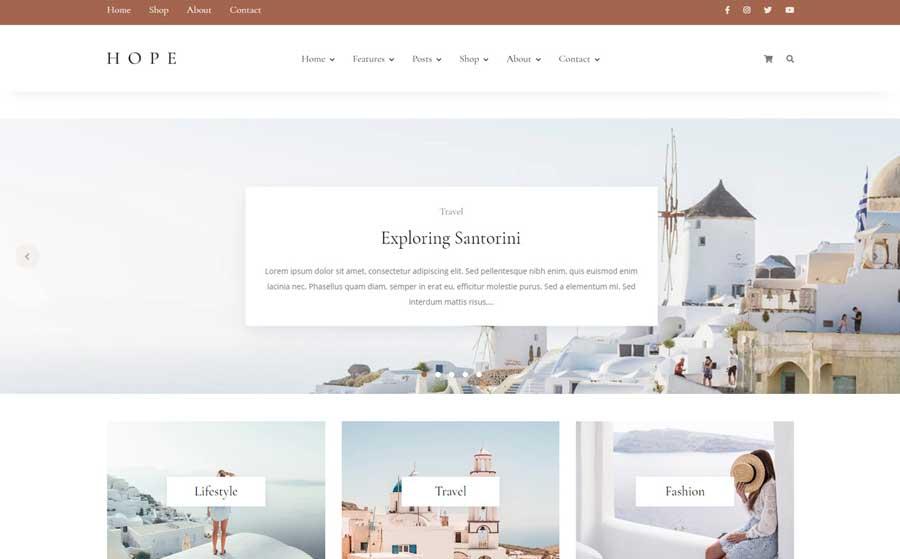 Hope - Blog & Shop WordPress Theme