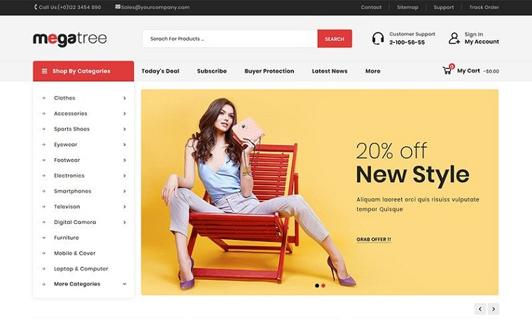Megatree Multi Purpose Template Helps to Create the Best Web Store