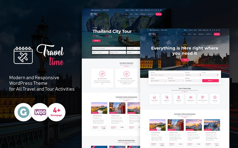 Impressive TravelTime WordPress Theme