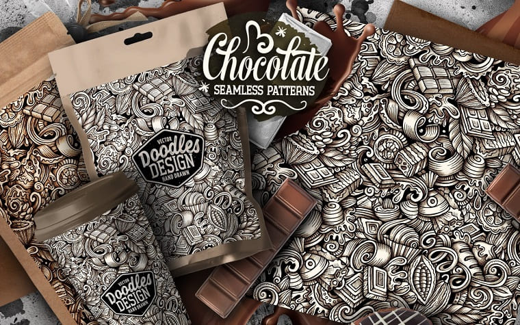 Chocolate Graphics Doodles Pattern